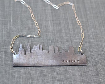 Philadelphia Skyline Necklace- Philly skyline necklace, customized city skyline pendant, cityscape necklace, home sweet home, moving gift