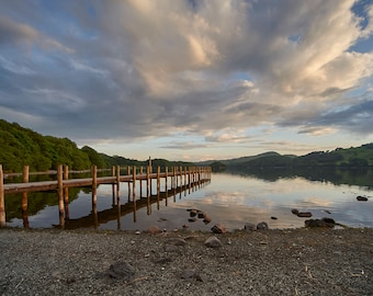 Jetty in the late evening sunset on Coniston Water in the Lake District National Park, UK, Hand Made, Fine Art Colour image