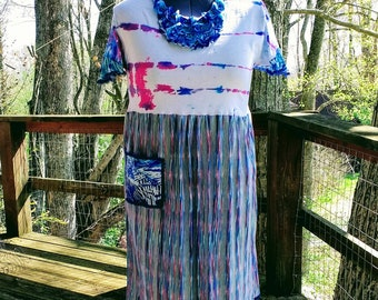 """Refashioned Upcycled Dress w/ Pocket and Fun Sleeves Blues, Dark Pinks, White """"Across The Sea"""" is XL and Stretchy. Easy Wash."""