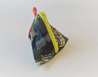 Triangle Coin Purse with Zipper in Monster Trucks on Black