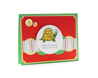 Get Well Soon - Cancer Card - Friend Messages - Encouragement Gift - Feel Better - Thinking Of You - Card For Friend - Turtle - Blank Card