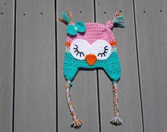 owl hat, Halloween, crochet owl hat, sleepy owl hat, girls hat, boys hat, winter hat, kids hat, childs hat, toddler hat, FAST SHIPPING