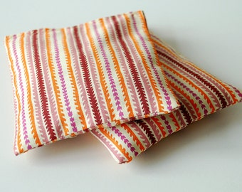 Organic Lavender Sachet Set - Retro Fabric in Oranges and Pinks - Set of 2  Natural Home Wedding Favors Mother's Day Gift