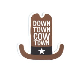 Downtown Cow Town Sticker