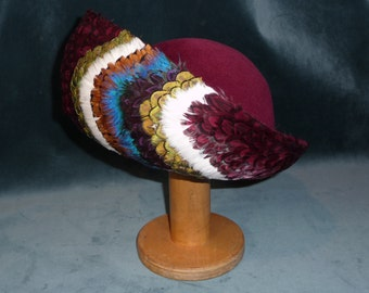 Vintage Stunning 'One of a Kind' Jack McConnell NY Multi-colored Feathered Maroon  Hat