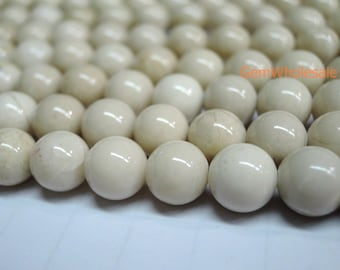 "12str 15.5"" Natural fossil round beads 4mm/6mm/8mm/10mm/12mm/14mm each 2str,semi-precious stone, beige color beads, HGL"
