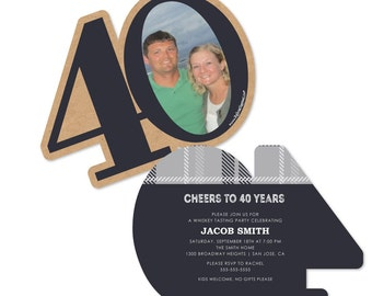 40th Milestone Birthday - Aged to Perfection Age-Shaped Birthday Party Invitations - Set of 12