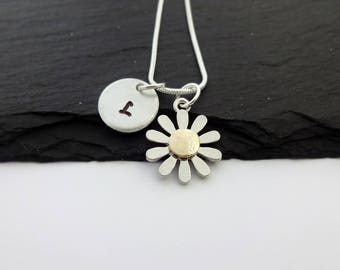 Initial Daisy Necklace, Flower Necklace, Initial Necklace, Daisy Jewellery, Gift For Her, Bridesmaid Necklace, Personalised, Floral Jewelry