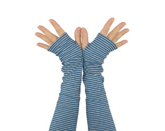 Arm Warmers in Blue and Grey Thin Stripes - Cotton Fingerless Gloves - Sleeves