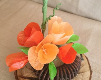 Rustic Spring Arrangement in shades of Orange