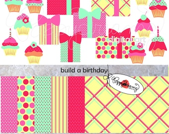 Build a Birthday Paper and Elements SET: Digital Scrapbook Paper Pack (300 dpi) Happy Birthday Cupcakes Gifts Presents Bows Candles