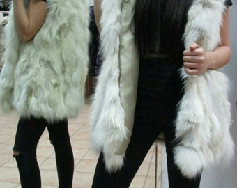 New Natural Real Hooded Fur Fox Vest!