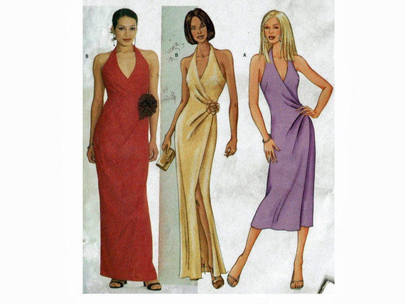 Fast & Easy Wrap Halter Dress Uncut Sewing Pattern Sizes 12 14 16 ...