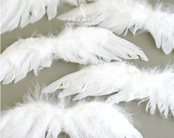 Medium Cotton Spun White Feather Angel Wings