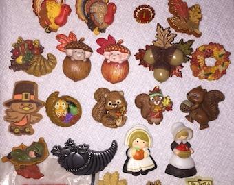 Vintage Hallmark Pins Lot of Thanksgiving Fall Holiday Lapel Pins Brooches CHOICE