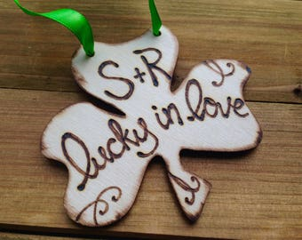 Lucky in Love Personalized Shamrock with Carved Initials Christmas Ornament Gift Tag Holiday Gift Engagement Gift Bridal Shower Gift