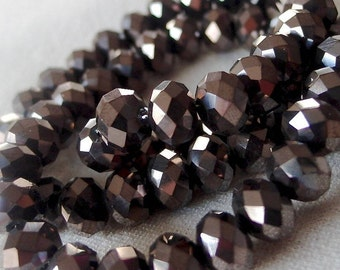 "16"" Long strand 8mm Gunmetal metallic Faceted Crystal Rondell Beads, 8mm x 6mm, 16 inch strand, approx 70 pieces"