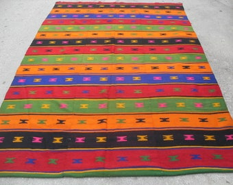 "Colorful Kilim, Vintage Turkish rug, rugs, 72"" x 112"", bright colored area rug, vintage rug, bohemian rug, eccentric rug, rugs, green rug"