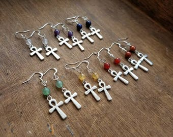 Ankh earrings with healing chakra stones, beaded chakra earrings, chakra healing jewelry