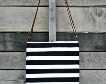 Crossbody Bag, Black and White Stripe, Genuine Leather, Everyday Purse, Adjustable Strap