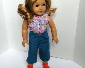 Capri jeans and sleeveless blouse with sandals,fits American girl and most soft body dolls
