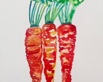 Carrot watercolor painting, original watercolor, kitchen art, kitchen decor, food painting