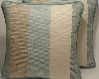 2 Coastal Pillows,Aqua Throw Pillows,Stripe Decorative Pillows,2 18