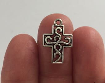 10 Cross Ornate Charms Antique Silver - CROSS10