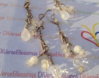 MOONSTONE, Rock Crystal, Genuine Gemstone, April or June Birthstone, Beaded Chain, Dangle Earrings, Sterling Silver, Fish Hook Ear Wires