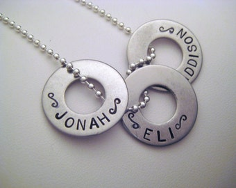 Personalized Custom 3 Washer Necklace