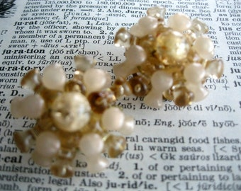 Vintage Champagne Tri Bead Clip On Earrings