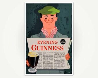 Evening Guinness - Guinness Beer Poster Print - Vintage Guinness Poster Art