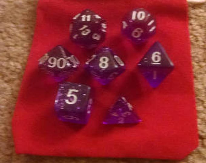 Pixie Dust - 7 Die Polyhedral Set with Pouch