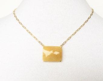 Orange Sapphire necklace, 14k Goldfill necklace with facet cut sapphire