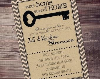 cute house warming invitation, chevron open house invitation, new home invitations, or any occasion customized, black chevron key invitation