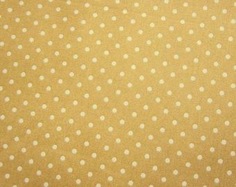 SALE Japanese Cotton Fabric - Golden Milk Tea Polka Dots Fabric (C004) Half Yard