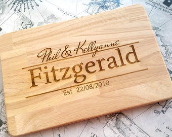 Personalised Cutting / Chopping Board - Laser Engraved - Ideal Gift For Wedding, House Warming or First Home! UK