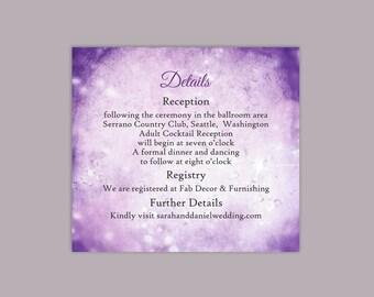 DIY Rustic Wedding Details Card Template Printable Wedding Details Card Editable Purple Lavender Details Card Vintage Enclosure Card Bling