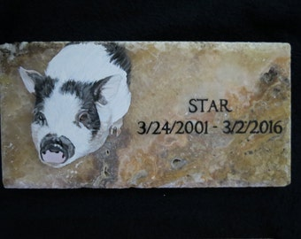 Head Stone or Original Memorial Stone Hand Painted 12 x 6 inches Pot Bellied Pig Made to Order by Pigatopia