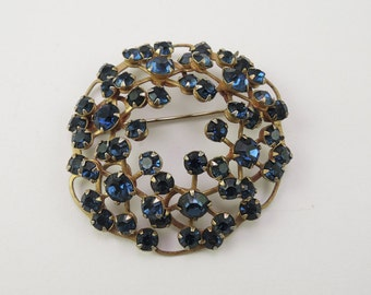 Sapphire Blue Rhinestone Pin 1940-50s