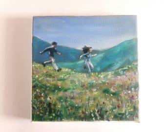 original acrylic painting, landscape painting, small painting, mountain painting, 8x8 painting, acrylics on canvas, mini painting, tiny art