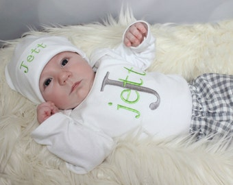 Newborn Baby Boy Take Home Outfit Baby Boy Clothes Monogram Personalized Baby to 5T Baby Gift bodysuit w/ Personalized Boy Hat Pants Option