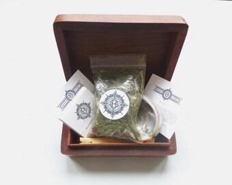 Teakbox//Smudge kit//Cedar//Abalone shell//Palo Santo//Selenite/Pink Himalayan Salt//Larimar//Dravite/Altar kit/Meditation kit/Four elements