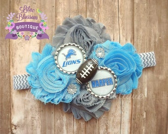 Detroit Lions Personalized Baby Headband,  Lions Girl Headband, Lions Baby Bow, Lions Baby Outfit, Detroit Football Bow, Detroit Girl Outfit