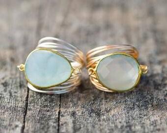 Wire Wrap ting in semi precious stone Blue Chalcedony, gold, silver
