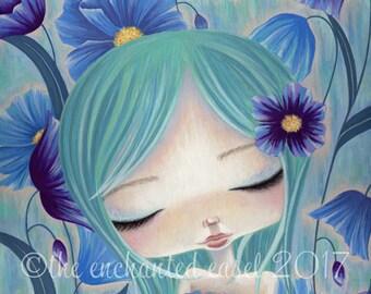 Blue Poppies Print, Girls Room, Whimsical, Girls Wall Art, Blue, Flowers, Beautiful Girl, Poppies, Fantasy, Art Print