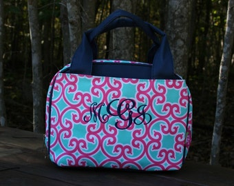 Girls Monogrammed Lunch Bag Pink Mint Floral Girls Personalized Lunch Tote