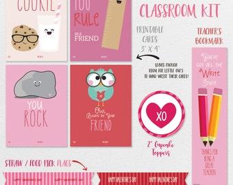 Kids Valentines Cards Printable, Kids Classroom Valentines Card, Valentines for Kids Printable, Valentines Cupcake Flag, Valentine Printable