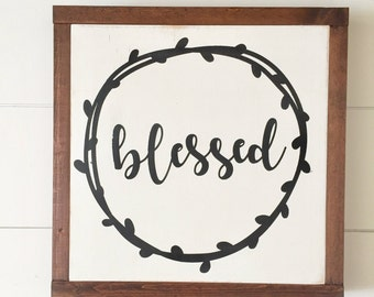 BLESSED wreath wooden sign