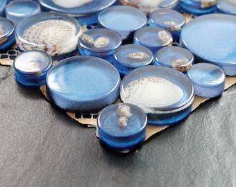 Blue Mosaic Resin Glass Conch Tile Backsplash Crystal Tile Penny Round with Shells Bathroom Tiles for Wall Decor